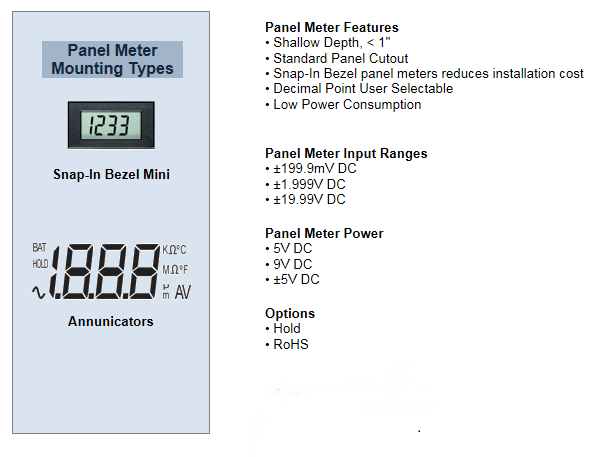 3 1/2 FIXED DIGIT MINIATURE LCD PANEL METERS